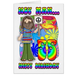 Starker 55. Geburtstag - Hippie-Geburtstag Karte