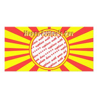 Starker Retro gelber u. roter der Vatertags-Rahmen Foto Karten