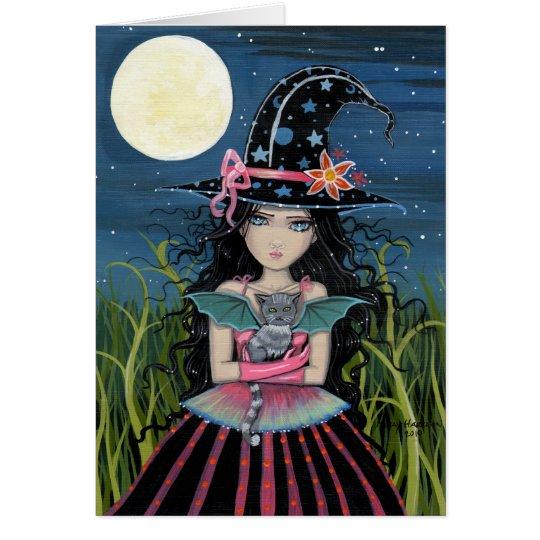 Starry mit Augen Hexe-und Katzen-Karte Grußkarte