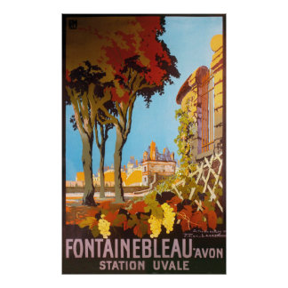 Station Fontainebleaus Avon Uvale Vintage Reise Poster