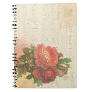Stationäres Notizbuch der Vintagen Rose Spiral Notizblock