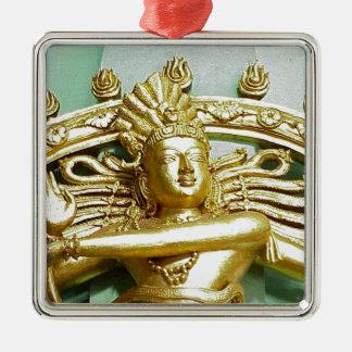 Statue des hindischen Gottes Shiva Quadratisches Silberfarbenes Ornament