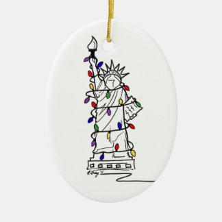 Statue-Freiheits-Weihnachtslichter New York City Keramik Ornament