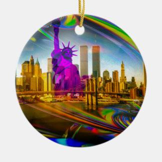 Statue of Liberty New York Rundes Keramik Ornament