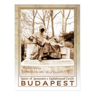 Statue von Anonymus an Vajdahunyad Schloss, Postkarte