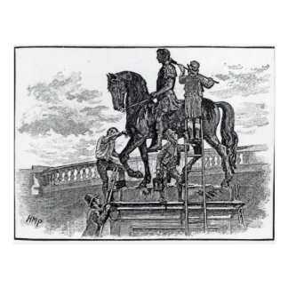 Statue Williams III malend schwarz, Dublin Postkarte