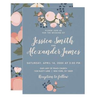 Staubige blaue Blumenhochzeits-Einladung erröten Karte