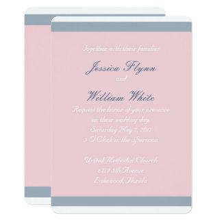 Staubige blauer Streifen-Hochzeits-Einladung Karte