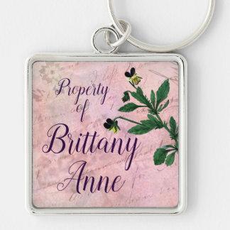 Staubiger rosa botanischer Vintager Viola Schlüsselanhänger