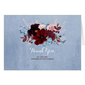 Staubiges Blumen Blau und Burgunder danken Ihnen Karte