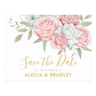 Staubiges rosa Goldblumengarten Save the Date Postkarte