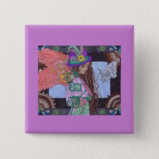 Steampunk #17 quadratischer Knopf Quadratischer Button 5,1 Cm