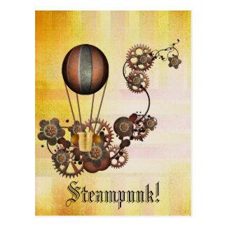 Steampunk Ballon-Antiken-Gelb Postkarte