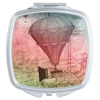 Steampunk Ballon-Skizzehandtasche Reise-Spiegel Schminkspiegel