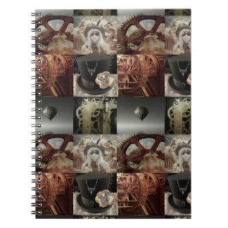 Steampunk Collagen-Ausgabe-Notizbuch Notizblock