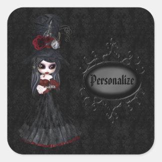 Steampunk Goth Mädchen-Schwarz-personalisierte Quadrat-Aufkleber