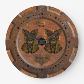 Steampunk Herz und Korsett-Taschen-Uhr Große Wanduhr