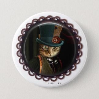 Steampunk Katzen-Knopf Runder Button 7,6 Cm
