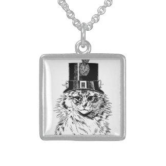 Steampunk Katzen-Miezekatze in einem Zylinder Sterling Silberkette