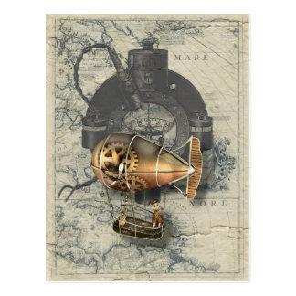 Steampunk lenkbarer Ballon-Fahrt Postkarte