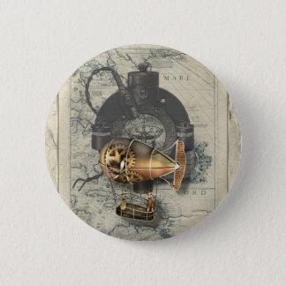 Steampunk lenkbarer Ballon-Fahrt Runder Button 5,1 Cm