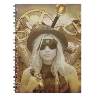 Steampunk Mädchen-Ausgabe-Notizbuch Notizblock