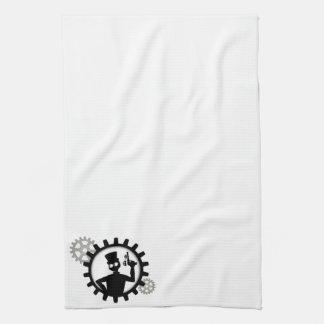 Steampunk Mann, der Gewehr im Gang hält Handtuch