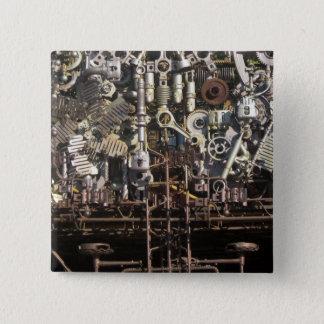 Steampunk mechanische Maschineriemaschinen Quadratischer Button 5,1 Cm