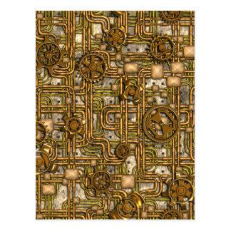 Steampunk Platte - Gänge und Rohre - Messing Postkarte