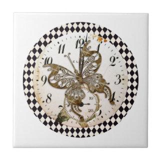 Steampunk Schmetterling rund Kleine Quadratische Fliese