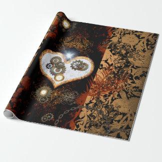 Steampunk, schönes Herz mit Gängen und Uhren Einpackpapier