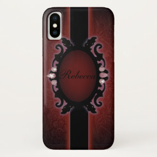 steampunk schwarzes und rotes gotisches Monogramm iPhone X Hülle