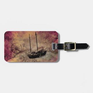 Steampunk Segelboot-Gepäckanhänger-Gewohnheit Gepäckanhänger