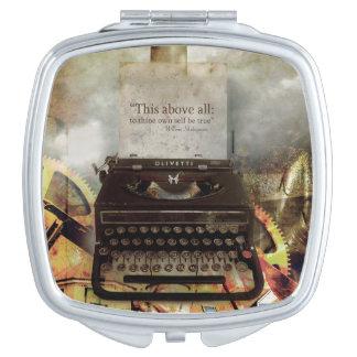 Steampunk Shakepeare Zitat-Reise-Spiegel Taschenspiegel