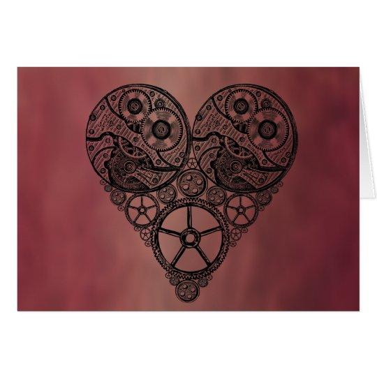 Steampunk Uhr-Arbeiten und Gang-Herz Grußkarte