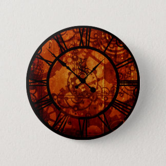 Steampunk Uhr Knopf Runder Button 5,1 Cm