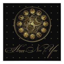Steampunk Uhr-Silvester-Party Einladung