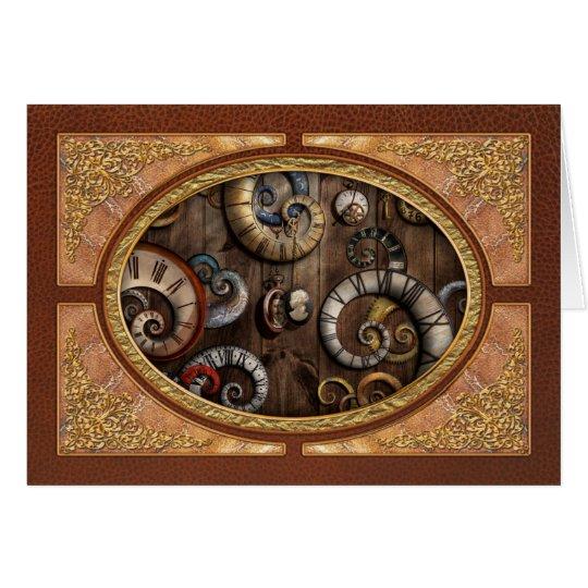 Steampunk - Uhr - Zeitmaschine Grußkarte