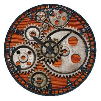 steampunk Uhrgang-Motorzahn-Uhrquadrat Große Wanduhr