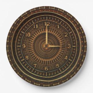 Steampunk Vintages altmodisches kupfernes Uhrwerk Pappteller