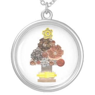 Steampunk Weihnachtsbaum-Halskette Versilberte Kette