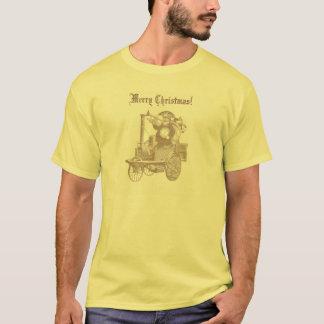 Steampunk Weihnachtsmann auf Dampf-Motor T-Shirt
