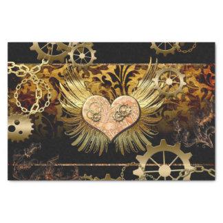 Steampunk, wunderbares Herz mit goldenen Gängen Seidenpapier