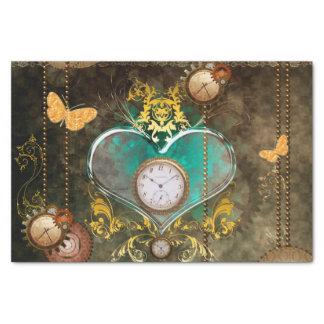 Steampunk, wunderbares Herz mit Uhren Seidenpapier