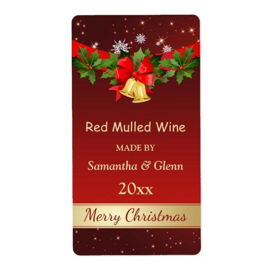 Stechpalme, Glocken Weihnachtswein Großer Adressaufkleber
