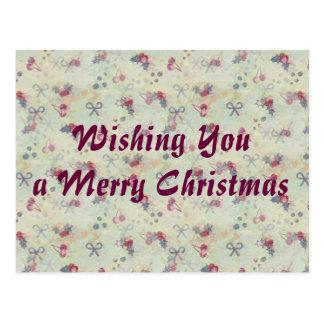 Stechpalme, Kirschen und Bogen-Weihnachtspostkarte Postkarte