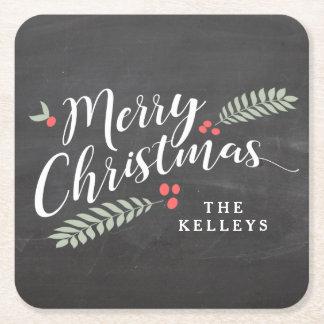 Stechpalme und Beeren-frohe Weihnachten Kartonuntersetzer Quadrat