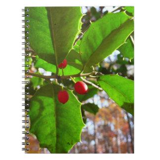 Stechpalme verlässt Natur des Feiertags-II Spiral Notizblock