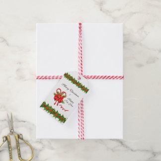 Stechpalmen-Beeren Weihnachten und Zuckerstangen Geschenkanhänger