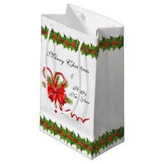 Stechpalmen-Beeren Weihnachten und Zuckerstangen Kleine Geschenktüte
